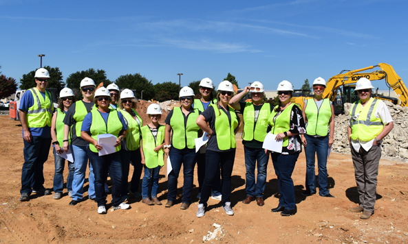 Group at construction site